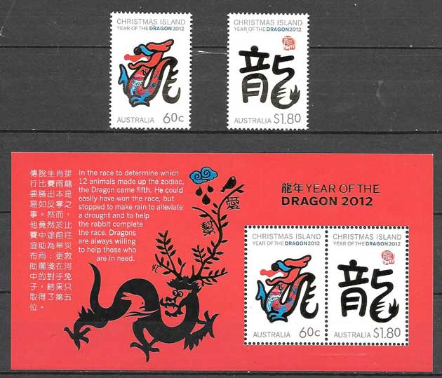 Stamps year dragon Christmas Island 2012