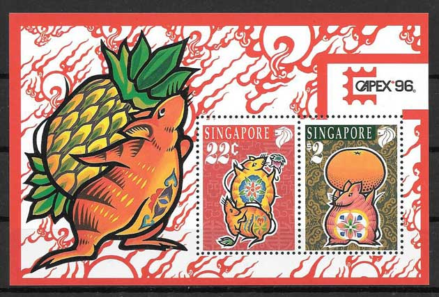 Philately lunar year of the rat Singapore 1996