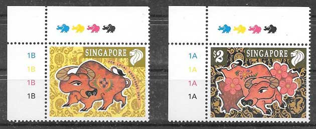 Stamps collection lunar year of buffalo Singapore 1997