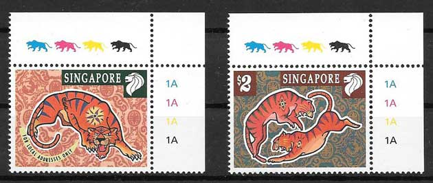Stamps collection lunar year of tiger Singapore 1998
