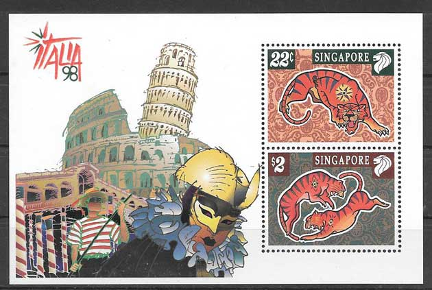 Stamps collection lunar year of the tiger Singapore 1998