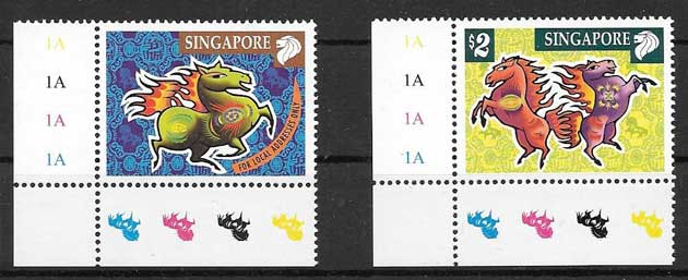 Stamp collecting lunar year of the horse Singapore 2002