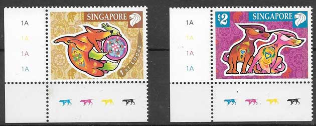 Philately collection lunar year dog Singapore 2006