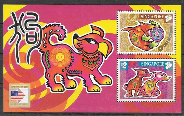 Collection stamps lunar year dog Singapore 2006
