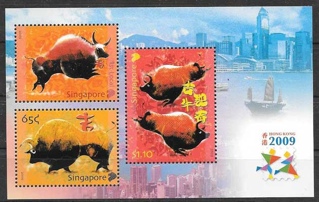 Stamps lunar year of the buffalo Singapore 2009