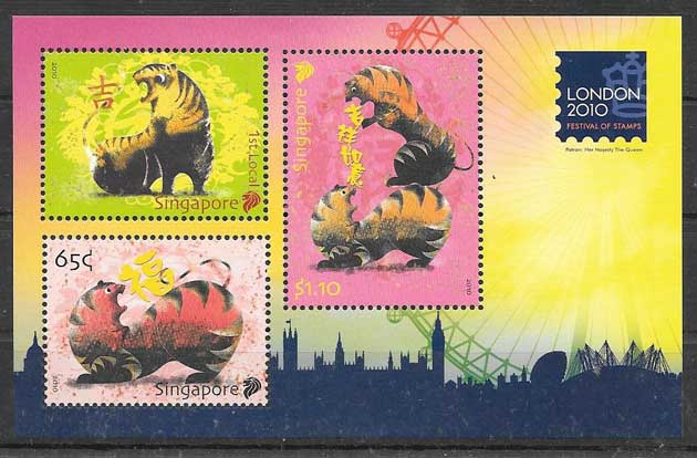 Stamps lunar year of the tiger Singapore 2010