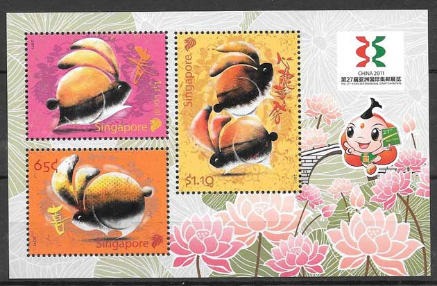 Stamps collection lunar year of the rabbit Singapore 2011