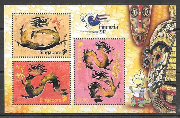 Stamps 2012 dragon mole year Singapore
