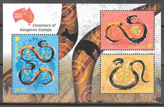 Philately lunar year of the serpent Singapore 2013